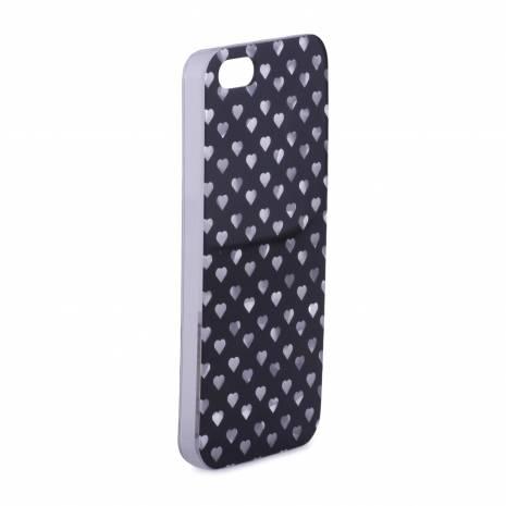 Husa iphone 4/4s din plastic, negru cu inimioare