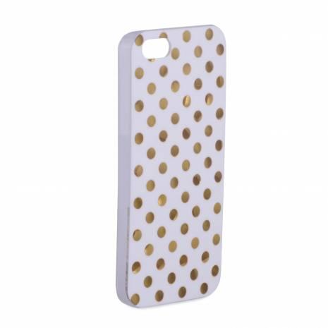 Husa iphone 5, din plastic, alb cu buline aurii