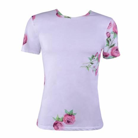 Tricou barbati, imprimeu floral, alb-roz