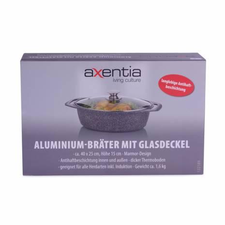 Tava din aluminiu, gri, cu capac din sticla, transparent