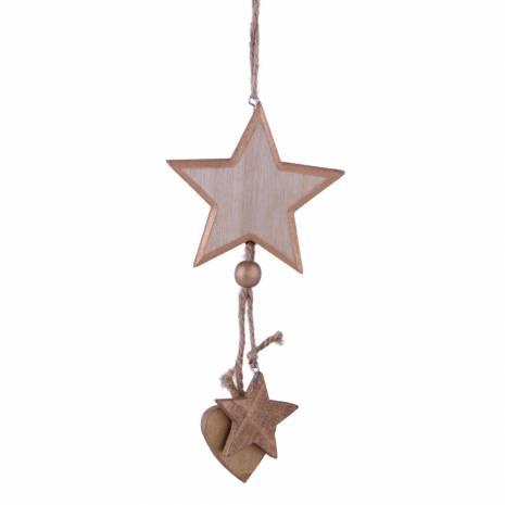 Steluta decorativa, din lemn, maro cu sclipici