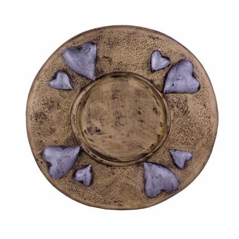 Suport lumanare, din ceramica, auriu cu gri