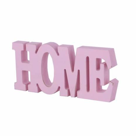 Litere din lemn, HOME, roz