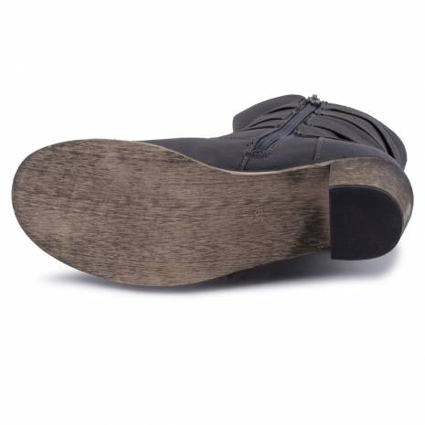 Botine Cable, piele ecologica, gri-inchis