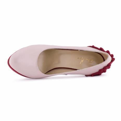 Pantofi dama, Diane Marie, din piele naturala, roz-rosu