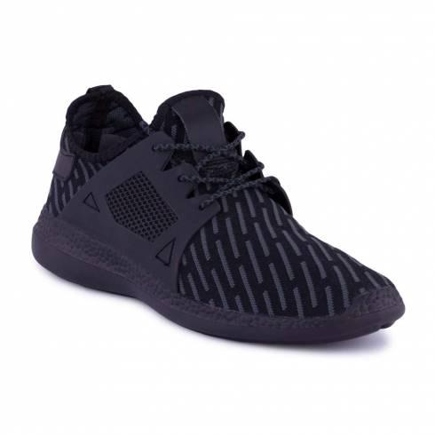 Sneakers, Jumex Collection, negru-gri cu sireturi