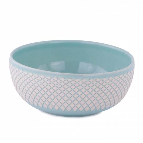 Bol din ceramica, turcoaz-alb, cu model romburi