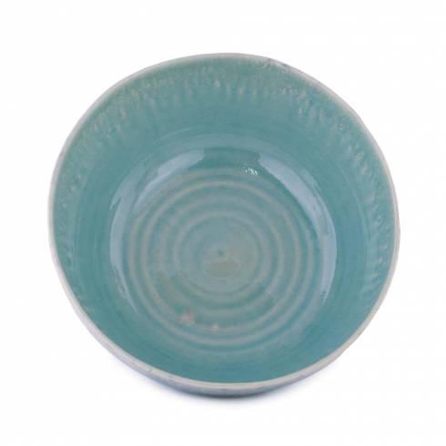 Bol din ceramica, turcoaz-crem, cu model