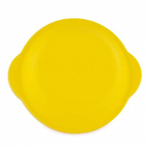 Bol de sticla termorezistenta cu capac ermetic si manere, rotund, 16 x 9 cm, galben, Del Vetro