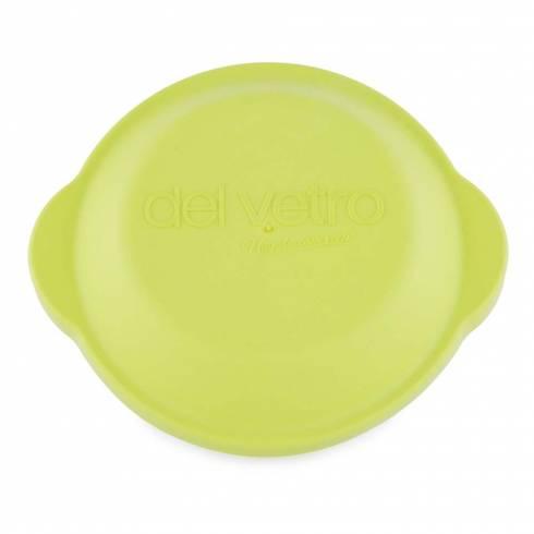 Bol de sticla termorezistenta cu capac ermetic si manere, rotund, 16 x 9 cm, verde, Del Vetro