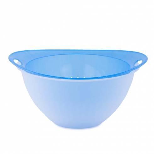 Bol cu strecuratoare, din plastic, transparent-albastru