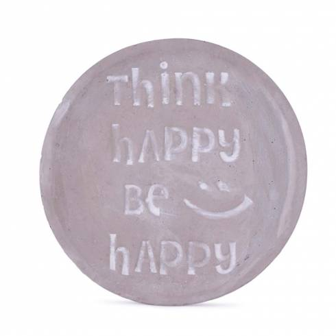 "Farfurioara decorativa, cu mesaj ""Think happy be happy"""