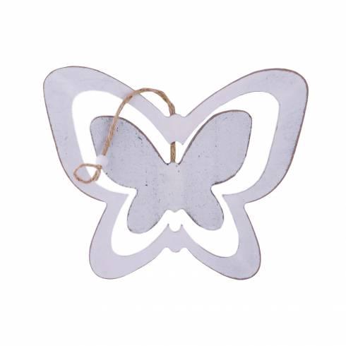 Fluturas decorativ din lemn alb