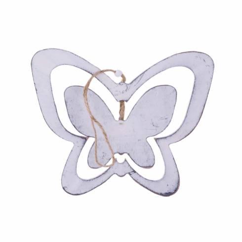 Fluturas decorativ din lemn alb-gri