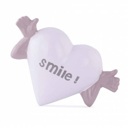 """Inimioara decorativa cu mesaj """"Smile!"""", din ceramica, alb-gri"""