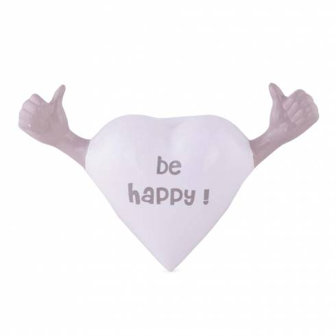 "Inimioara decorativa cu mesaj ""Be Happy!"", din ceramica, alb-gri"