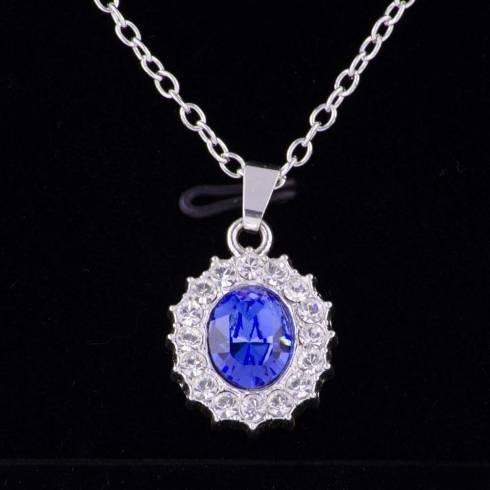 Colier, Eternal Love, piatra albastra, cu elemente swarovski