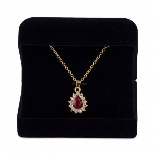 Colier, Eternal Love, piatra rosie cu elemente swarovski