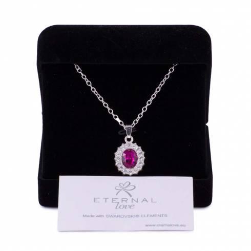 Colier, Eternal Love, piatra roz, cu elemente swarovski