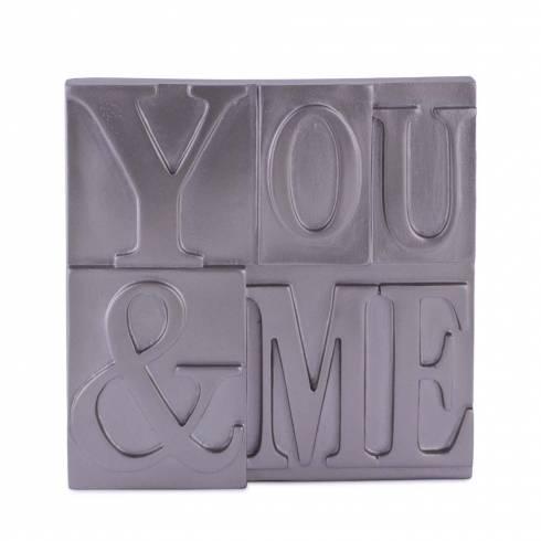 """Placuta decorativa, din lemn cu mesaj """"YOU & ME"""""""