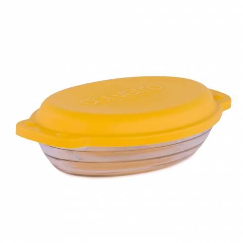 Vas de sticla termorezistenta cu capac ermetic si manere, oval, 23 x 14.5 cm, 800 ml, galben, Del Vetro