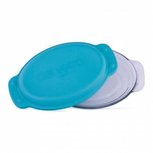 Vas de sticla termorezistenta cu capac ermetic si manere, oval, 23 x 14.5 cm, 800 ml, albastru, Del Vetro