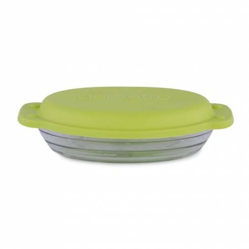 Vas de sticla termorezistenta cu capac ermetic si manere, oval, 23 x 14.5 cm, 800 ml, verde, Del Vetro