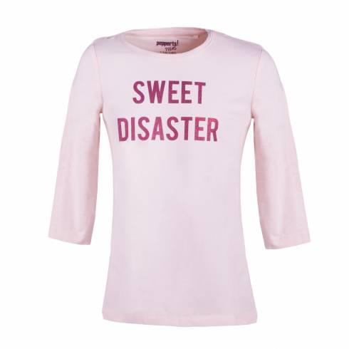 "Bluza cu maneca trei sferturi, roz, cu text ""Sweet Disaster"""