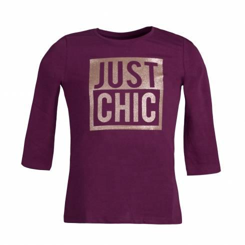 "Bulza cu maneca trei sferturi, mov, cu text ""Just Chic"""