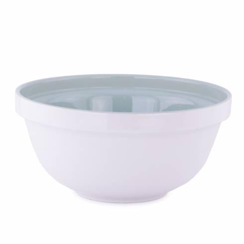 Bol pentru salata, din ceramica, alb-verde