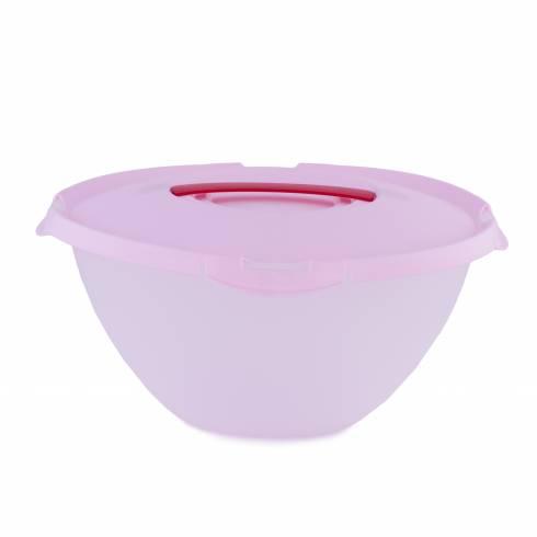 Bol cu capac, din plastic, transparent, roz-rosu