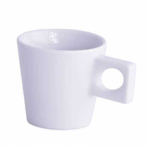 Ceasca de cafea, Walkure, cu toarta patrata, din ceramica, alba, 100 ml