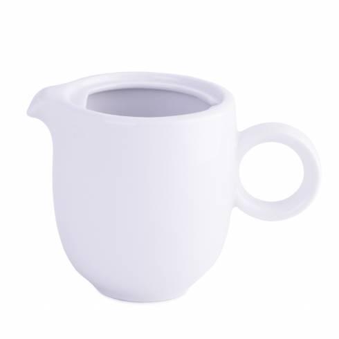 Recipient pentru lapte, din ceramica, cu toarta, alba
