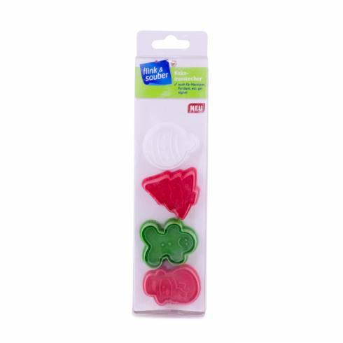 Set 4 form pentru fondant sau fursecuri, Christmas, rosu-verde-alb