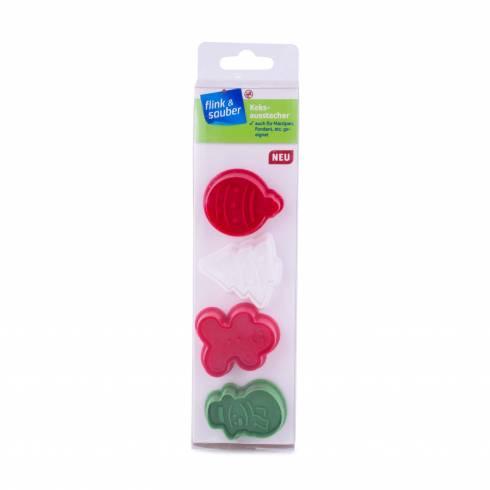 Set 4 forme pentru fondant sau fursecuri, Christmas, multicolor