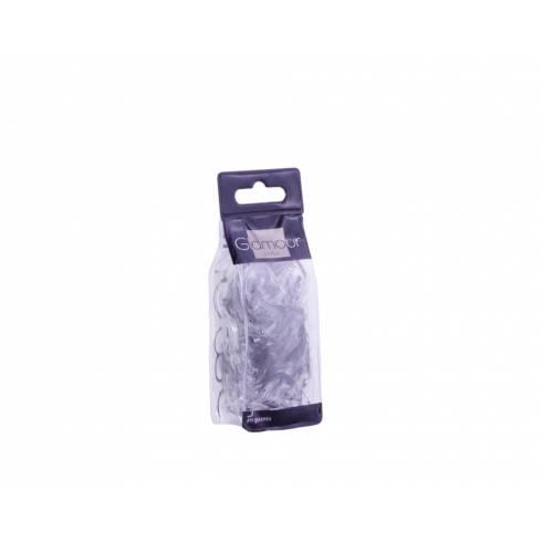 Set elastice pentru par Glamour, din cauciuc, negru-transparent