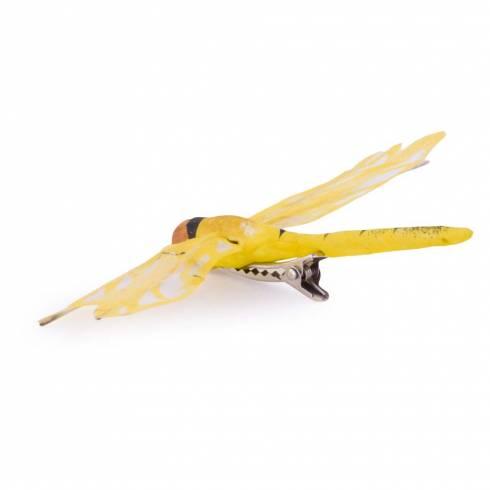 Fluturas decorativ, din plastic, galben, cu clema
