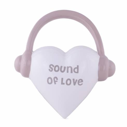 """Inimioara decorativa """" SOUND OF LOVE"""", Gilde, alb-gri"""