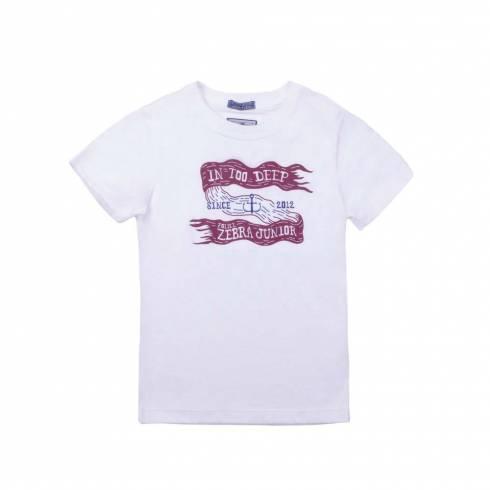 Tricou Police zebra, alb, cu imprimeu rosu