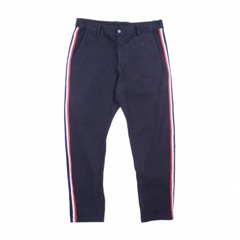 Pantaloni bleumarin, cu dungi, alb-rosu