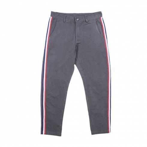 Pantaloni dama kaki, cu dungi, rosu-alb-albastru