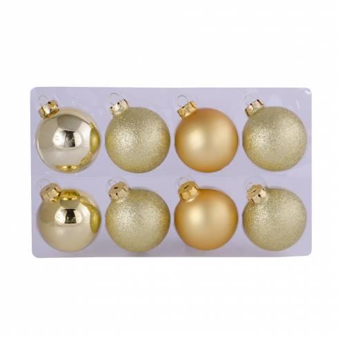 Set 8 globuri Melinera, din plastic, aurii