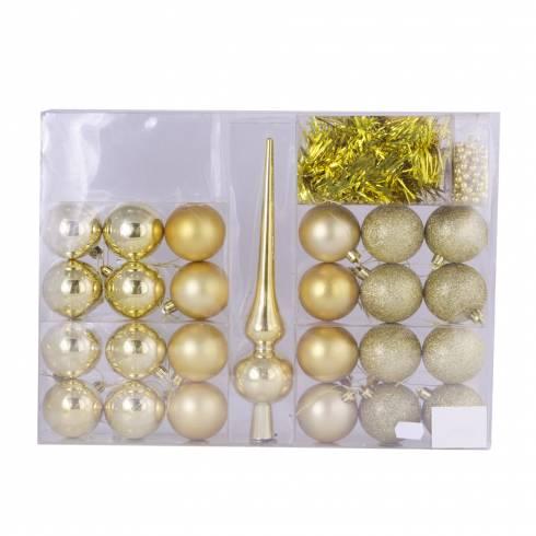 Set decoratiuni pentru brad, auriu