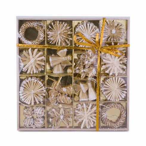 Set decoratiuni pentru brad din nuiele, crem cu sclipici alb
