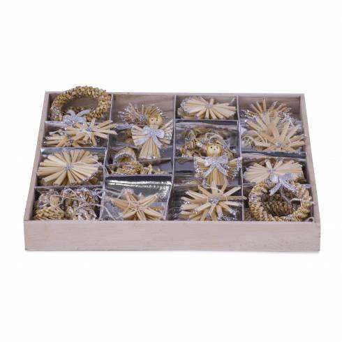 Set decoratiuni pentru brad, crem cu sclipici argintiu