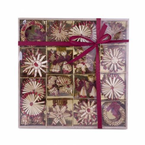Set decoratiuni pentru brad, din nuiele, crem cu sclipici rosu