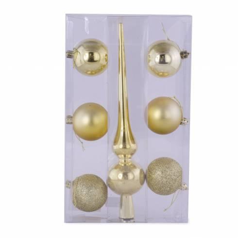 Set 7 decoratiuni pentru brad, din plastic, auriu