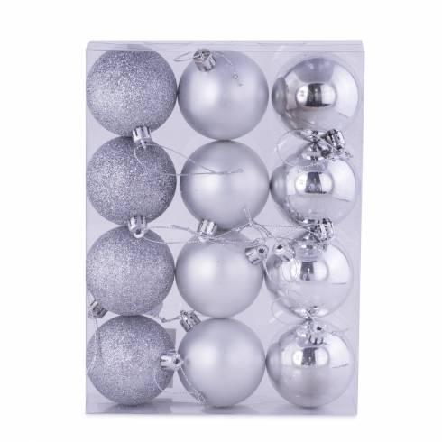 Set 12 globuri, din plastic, argintiu