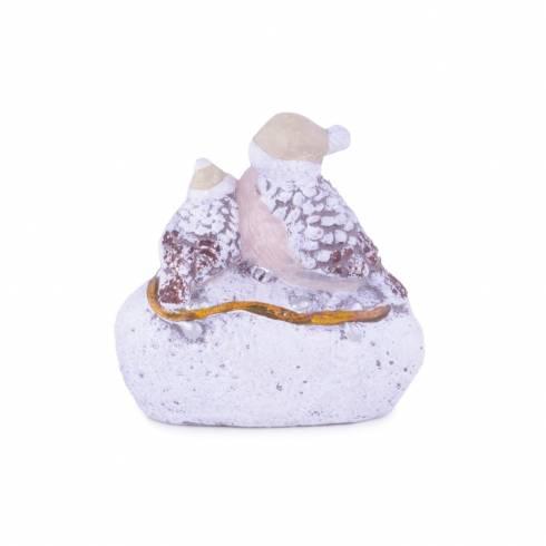 Statueta pasarele de craciun, din ceramica, alb-maro