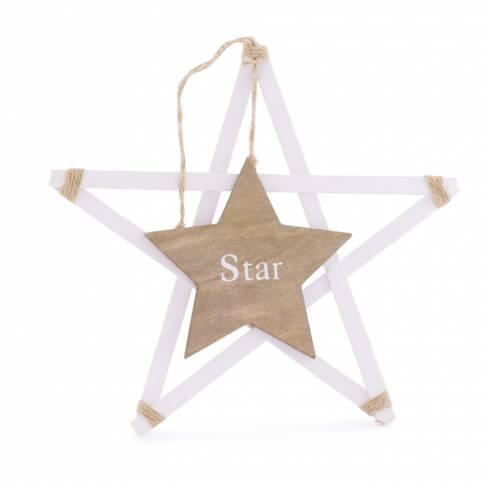 Steluta decorativa din lemn, cu inscriptie STAR